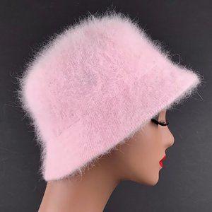 Vintage 70s Angora Fuzzy Fur Bucket Cloche Hat